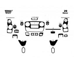 Opel Movano 2010+ гг. Накладки на панель (большая комплектация) Алюминий