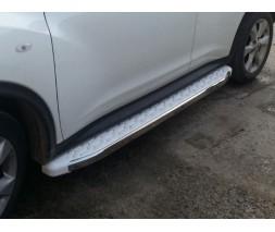 Opel Vivaro 2015-2019 гг. Боковые пороги WhiteLine (2 шт., алюминий) Короткая база