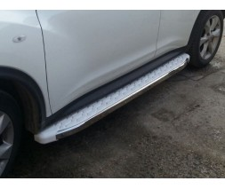 Opel Vivaro 2015-2019 гг. Боковые пороги WhiteLine (2 шт., алюминий) Длинная база