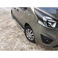 Боковые пороги Premium (2 шт, нерж) 60 мм, длинная база для Opel Vivaro 2015-2019