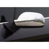 Накладки на зеркала (2 шт) OmsaLine - Хромированный пластик для Peugeot 407