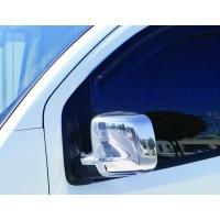Накладки на зеркала полные (2 шт, нерж) Carmos - Хромированный пластик для Peugeot Bipper 2008+