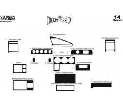 Peugeot Partner 1996-2008 гг. Накладки на панель (1996-2003) Карбон