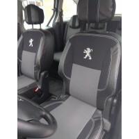 Авточехлы (кожзам+ткань, Premium) Передние для Peugeot Partner Tepee 2008-2018
