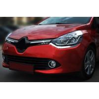 Накладки на решетку радатора OmsaLine (2 шт, нерж.) Хром для Renault Clio IV 2012-2019