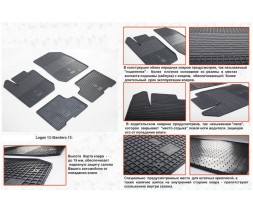 Renault Dokker 2013↗ гг. Резиновые коврики (4 шт, Stingray Premium)