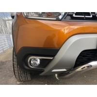 Накладки на противотуманки (2 шт, нерж) Carmos - Турецкая сталь для Renault Duster 2018+
