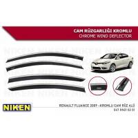 Ветровики с хромом (4 шт, Niken Chrome) для Renault Fluence 2009+