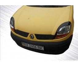Renault Kangoo 1998-2008 гг. Реснички (2 шт, Черный ABS) Черный глянец