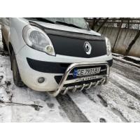 Кенгурятник WT003/004 (нерж.) с надписью, 60 мм для Renault Kangoo 2008-2019