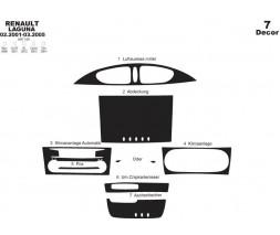 Renault Laguna 2001-2007 гг. Накладки на панель (2001-2005) Черный рояль