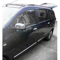 Накладки на зеркала (2 шт, нерж.) OmsaLine - Итальянская нержавейка для Renault Lodgy 2013+