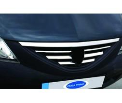 Renault Logan I 2005-2008 гг. Накладки на решетку радиатора (нерж.) Carmos - Турецкая сталь