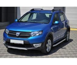 Renault Sandero 2013+ гг. Боковые пороги Fullmond (2 шт., алюминий)