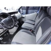 Renault Trafic 2001-2015 гг. Авточехлы (кожзам+ткань, Premium) Передние 2-20211 и салон