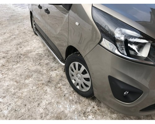Боковые пороги Premium (2 шт, нерж) 60 мм, длинная база для Renault Trafic 2015+