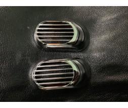 Seat Ibiza 2002-2009 гг. Решетка на повторитель `Овал` (2 шт, ABS)