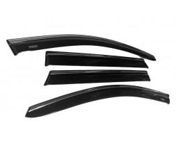 Seat Leon 2013+ гг. Ветровики с хромом (4 шт, Niken)