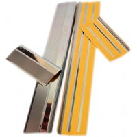 Накладки на пороги Натанико (нерж) Premium - лента 3М, 0.8мм для Skoda Fabia 2000-2007