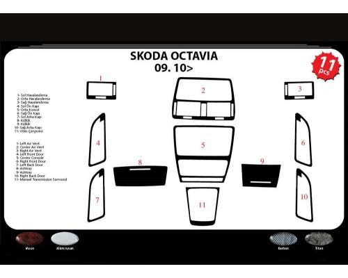 Накладки на панель (Meric, Турция) Алюминий для Skoda Octavia II A5 2010-2013