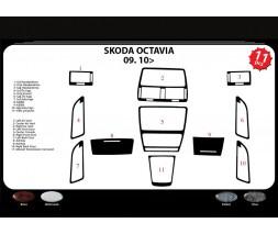 Skoda Octavia II A5 2010-2013 гг. Накладки на панель (Meric, Турция) Дерево