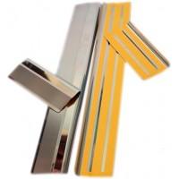 Накладки на пороги Натанико (4 шт, нерж.) Premium - лента 3М, 0.8мм для Skoda Superb 2009-2015