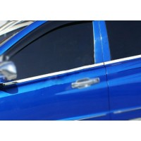 Наружняя окантовка стекол (4 шт, нерж) OmsaLine - Итальянская нержавейка для SsangYong Rexton II 2008+ и 2013+