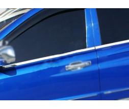 SsangYong Rexton II 2008+ и 2013+ гг. Наружняя окантовка стекол (4 шт, нерж) OmsaLine - Итальянская нержавейка