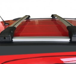 Suzuki SX4 S-Cross 2013-2016 гг. Поперечный багажник на интегрированые рейлинги под ключ (2 шт) Серый