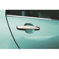 Toyota Yaris 2006-2011 гг. Накладки на ручки (4 шт, нерж) Omsaline - итальянская нержавейка