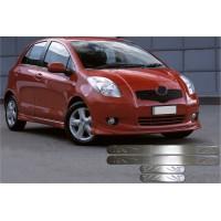 Toyota Yaris 2012+ гг. Накладки на пороги OmsaLine (4 шт, нерж)