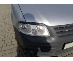 Volkswagen Caddy 2004-2010 гг. Реснички (2 шт, ABS) Черный мат