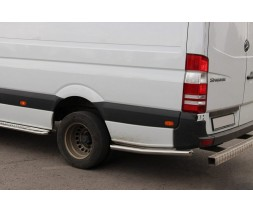 Volkswagen Crafter 2006-2017 гг. Боковые трубы за задним колесом (2 шт, нерж) Средняя база, 60мм