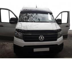 Volkswagen Crafter 2017↗ гг. Козырек на лобовое стекло (черный глянец, 5мм)