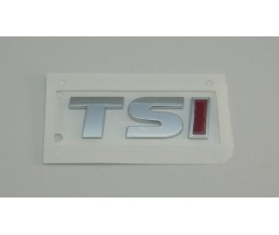 Volkswagen Golf 6 Надпись TSI (косой шрифт) TS - хром, I - красная