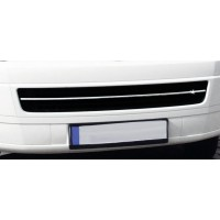 Накладка на решетку бампера (нерж) Carmos - Турецкая сталь для Volkswagen T5 Caravelle 2004-2010