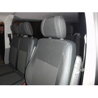 Авточехлы (кожзам+ткань, Premium) Полный салон -2021 передние (1-20211) для Volkswagen T5 Caravelle 2004-2010