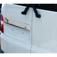 Накладка над номером для распашных дверей (нерж) Carmos - Турецкая сталь для Volkswagen T5 Multivan 2003-2010