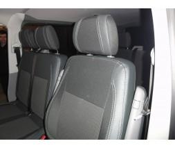 Volkswagen T5 рестайлинг 2010-2015 гг. Авточехлы (кожзам+ткань, Premium) Передние (1-20211)