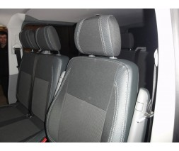 Volkswagen T5 рестайлинг 2010-2015 гг. Авточехлы (кожзам+ткань, Premium) Передние (2-20211)