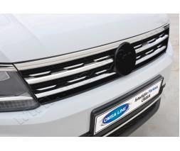 Volkswagen Tiguan 2016+ Накладки на решетку (2 шт, нерж)