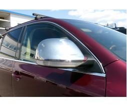 Volkswagen Touareg 2002-2010 гг. Накладки на зеркала 2007-2010 ( 2 шт, нерж) Хромированный пластик