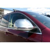 Накладки на зеркала 2007-2010 ( 2 шт, нерж) Carmos - Турецкая сталь для Volkswagen Touareg 2002-2010