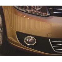 Volkswagen Touran 2010-2015 гг. Накладки на противотуманки (2 шт, нерж) OmsaLine - Итальянская нержавейка
