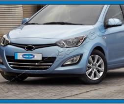 Полоски на решетку (2 шт, нерж.) Hyundai I-20 2012-2014