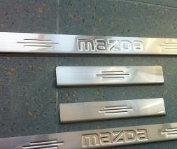 Накладка на пороги Carmos (нерж) Mazda 2 2003-2007