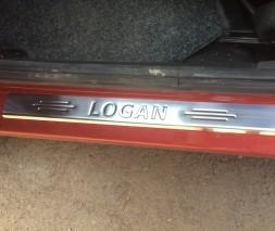 Накладки на пороги Carmos (4 шт, нерж.) Dacia Logan I 2005-2008
