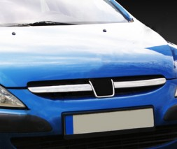 Накладки на решетку (2001-2005, 2 шт, нерж) Peugeot 307