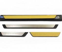 Накладки на пороги Flexill (4 шт, нерж) Mitsubishi Colt 2004-2012