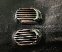 Решетка на повторитель `Овал` (2 шт, ABS) Audi A4 B6 2000-2004
